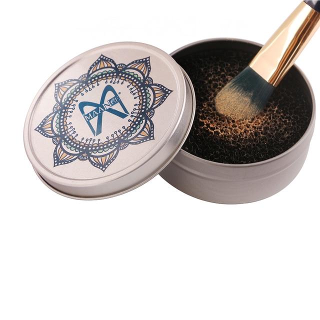 Couleur Pinceau De Maquillage Nettoyant Éponge Dissolvant En Aluminium maquillage Brosses Nettoyage Tapis Boîte Poudre Brosse Lavage Laveur Kit Propre