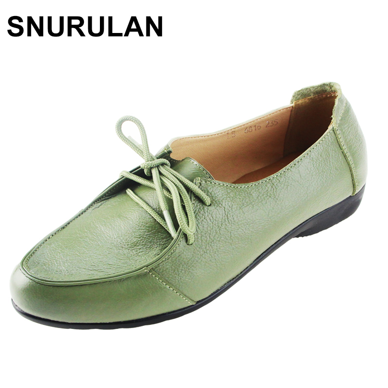 SNURULAN New Spring Women Genuine Leather Shoes Lace-up Moccasins Women Loafers Soft Leisure Flats Female Casual Single Shoes запонки gianni tonelli 12 b 1082 20 e