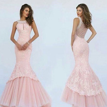 2016 Pink Mermaid Long Evening Dresses Luxury Pearls Neck Sheer back Vestido De Festa Lace Ruched Robe Soiree