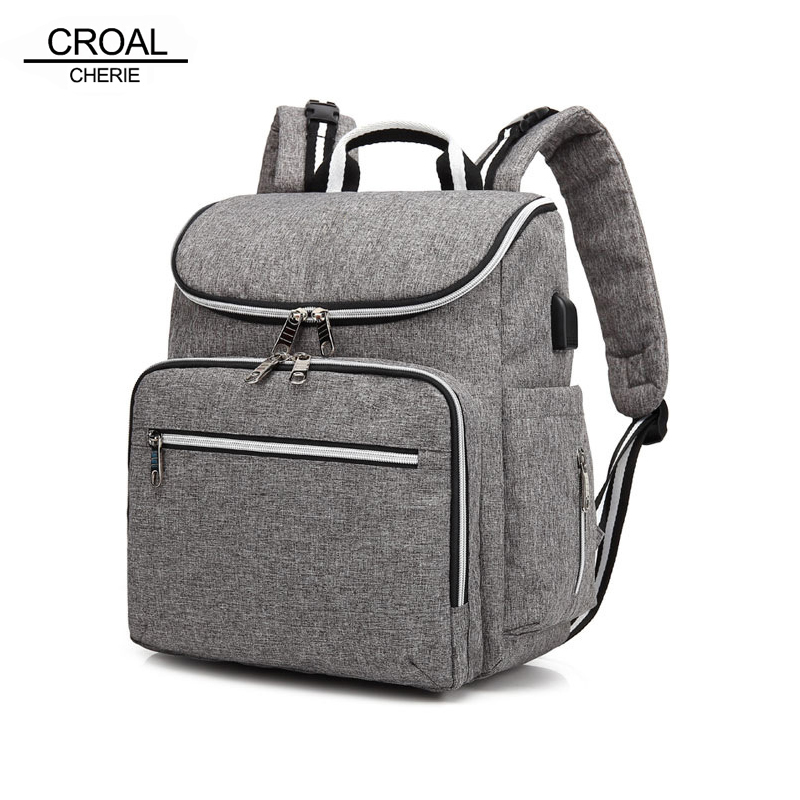 CROAL CHERIE Fashion USB Charging Baby Diaper Bags Backpack For Mom Maternity Baby Stroller Bag Insulation Bag Mom Backpack