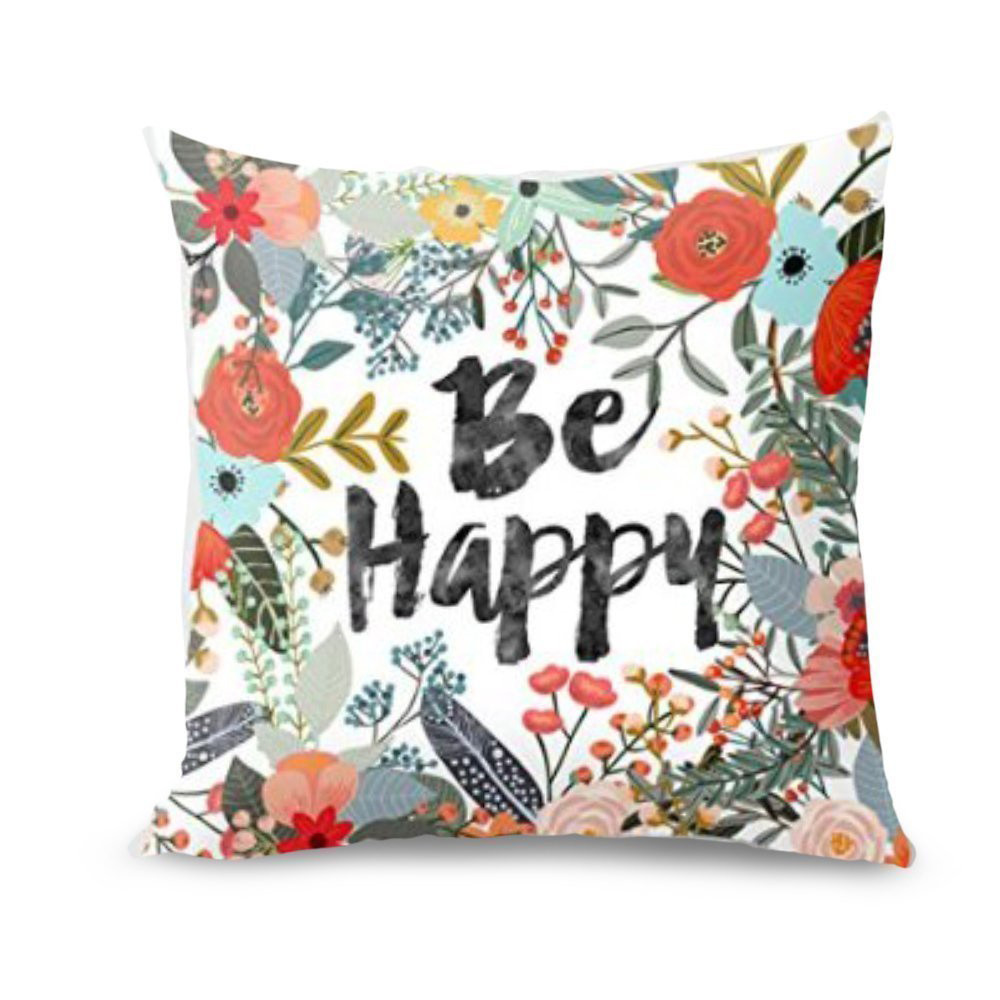 New Hot Selling 2018 Pillow Be Happy Surrounded With Flowers And Plants Personalized Fashion Pillow Cover Small Fresh 40cm*40cm