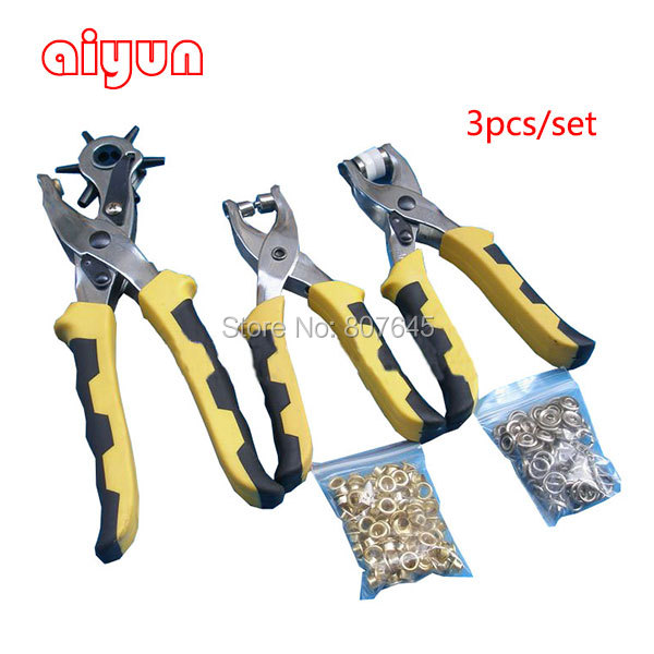 3pcs/set  punch plier Duty Leather Hole Punch Hand Pliers Belt Holes Punches with 200pcs grommet setting tool kits  цены