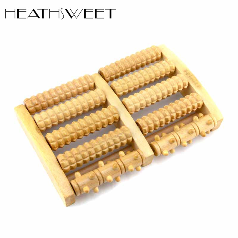 Healthsweet 1pc 5 Row Wood Foot Reflexology for Stress Fitness Health Care Feet Roller Massage With Wooden Nails A195