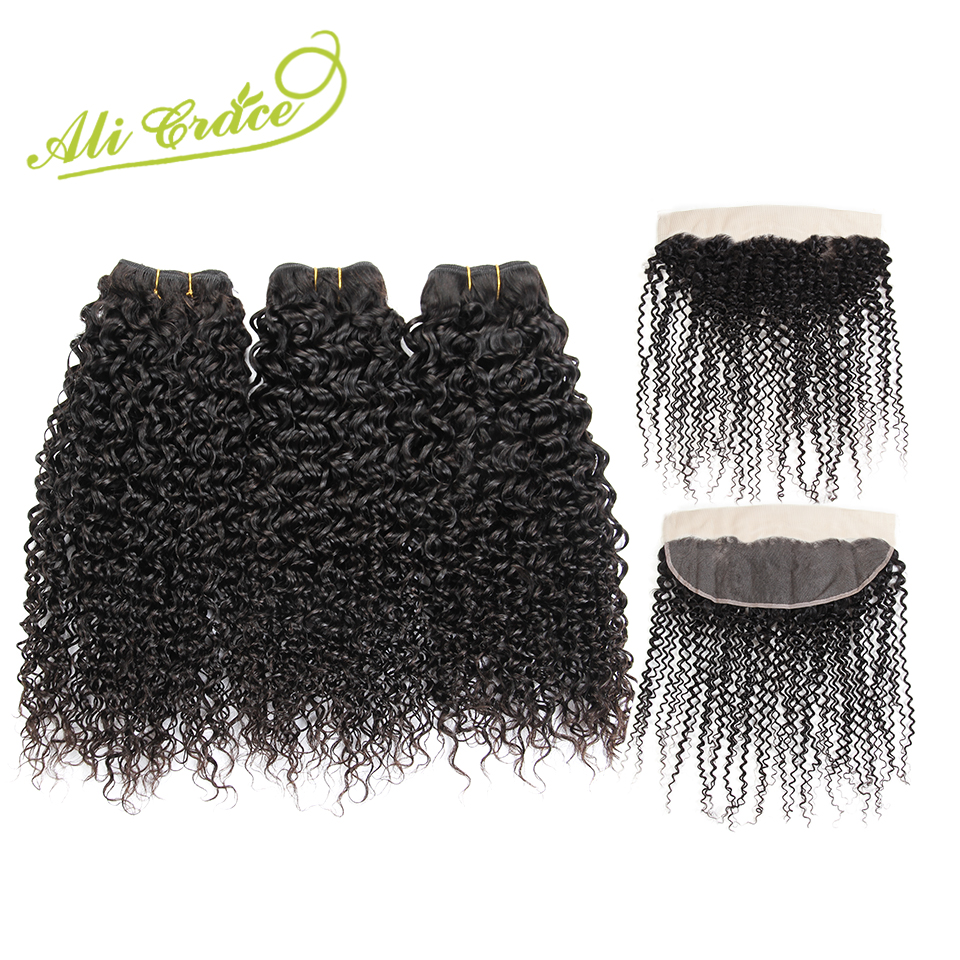 Malaysian Kinky Curly Hair With Closure Ali Grace Human Hair 3 Bundles With Closure 100 Remy