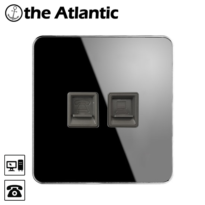 Atlantic Brand RJ45 Internet Socket Luxury Wall Network Outlet With Telephone Jack socket Acrylic Crystal Mirror Panel atlantic brand double tel socket luxury wall telephone outlet acrylic crystal mirror panel electrical jack