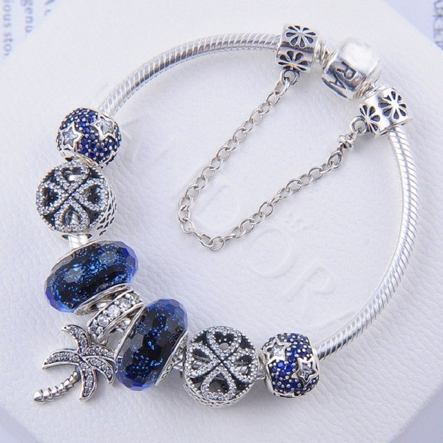 3444b39cd Sparkling palm tree pendant charm pandora bracelets for women blue pave  star petals of love charm with glass beads safety chain