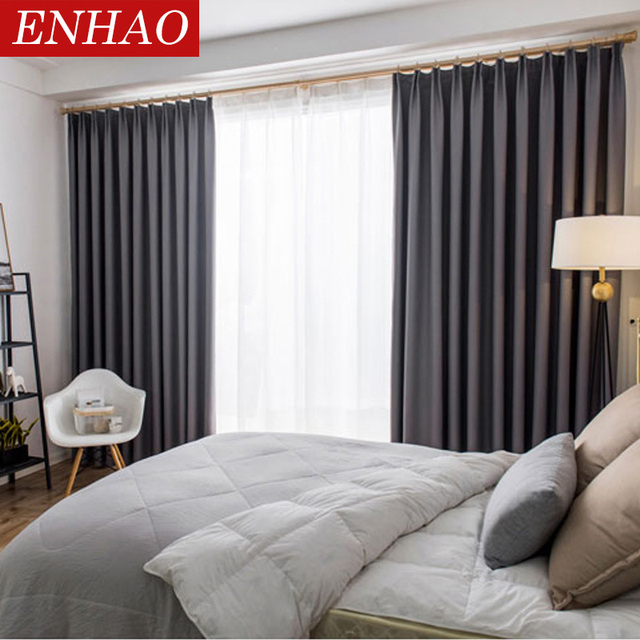 ENHAO Modern Blackout Curtains for Living Room Bedroom Kitchen Curtains for Solid Blackout Curtains Fabric Drapes Blinds Thick