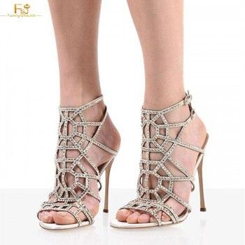 Cross-tied Sexy Crystal Rhinestone Hotfix Nets Stiletto Heels Wedding Party Gladiator Summer Champagne Sandals Women Shoes FSJ