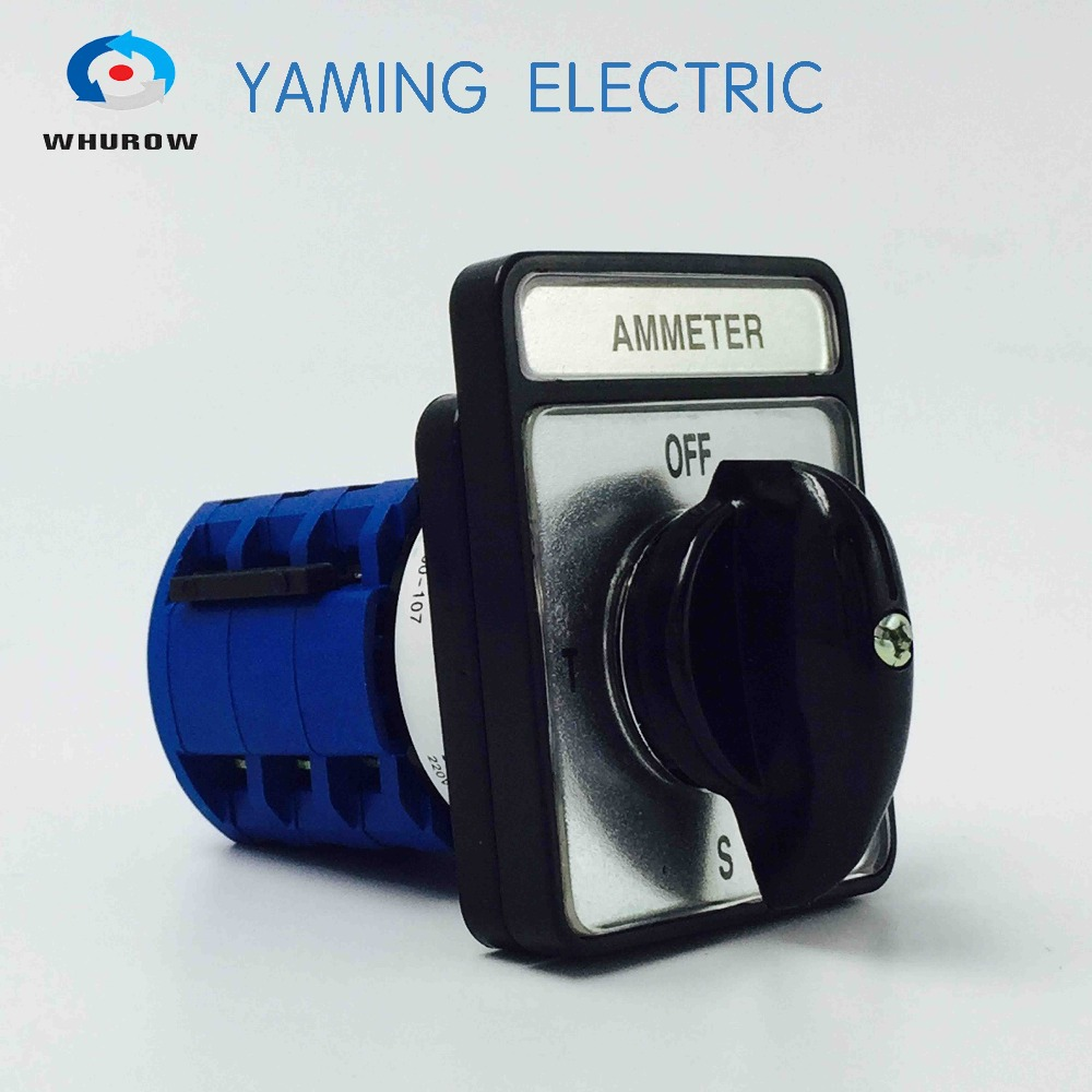 Yaming electric Selector Ammeter Changeover switch 20A 4 Position 3 phases rotary cam switch control motor load circuit breaker switch ac ui 660v ith 100a on off 3 poles 3 phases 3no 2 position universal rotary cam changeover switch