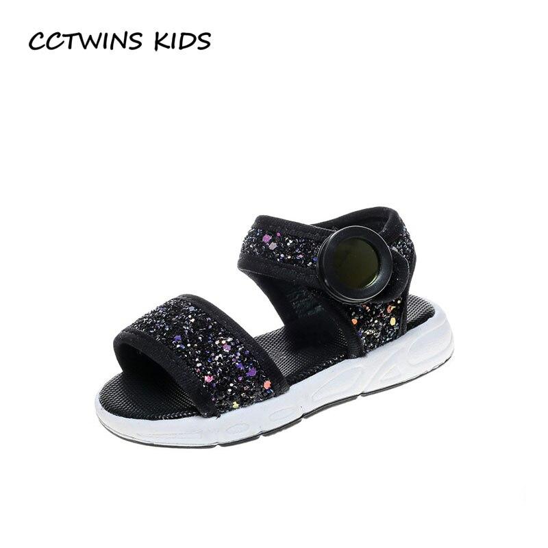 CCTWINS KIDS 2018 Summer Children Fashion Glitter Casual Shoe Baby Girl Black Slipper Toddler Brand Soft First Walker FW035