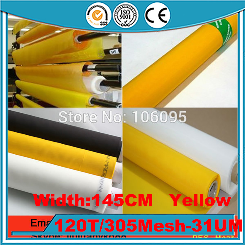 Fast Delievery!!! Yellow 15 Meters 120T(305mesh) 31UM-145cm Monofilament Polyester Silk Screen Printing Mesh