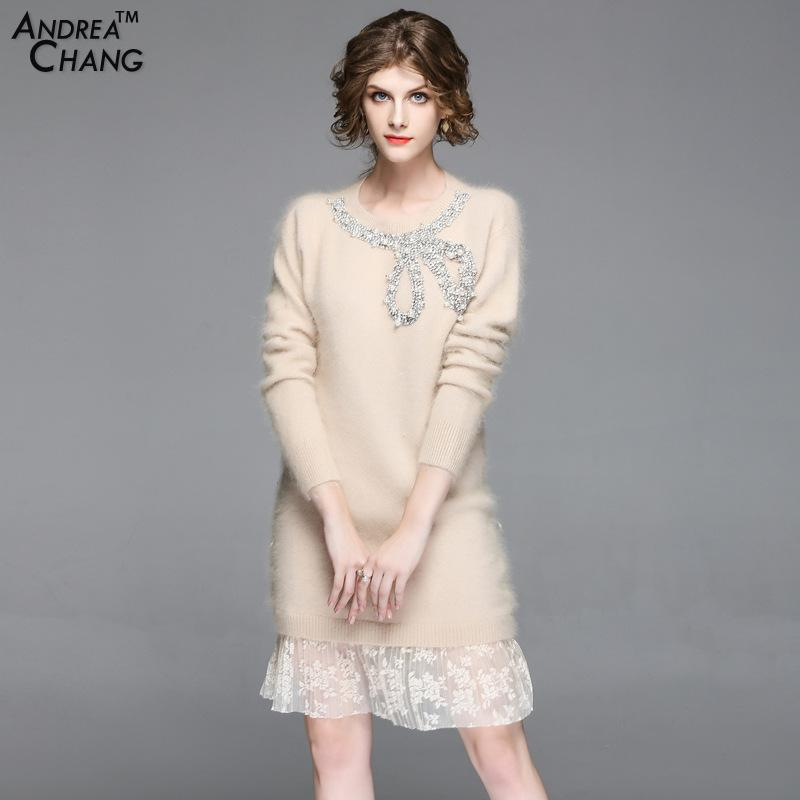2017 New Arrival Autumn Winter Woman Dress Rhinestone Beading Bow Pattern Lace Bottom Pink Beige White Knitted Fluffy Dress