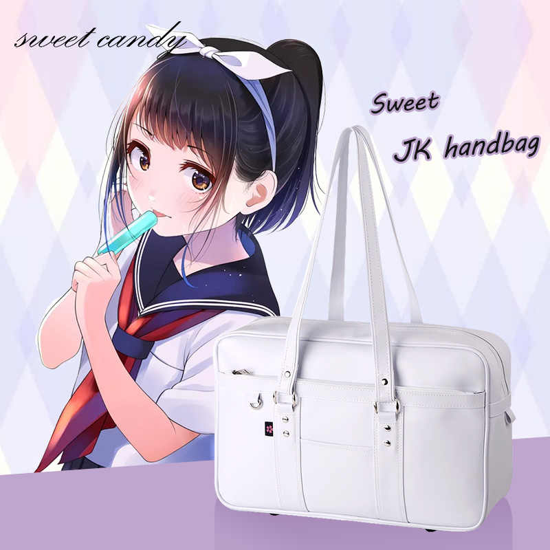 Girls Japanese School Bags High School College JK Uniform bag Unisex Shoulder Bags Messenger Bag PU Leather handbag