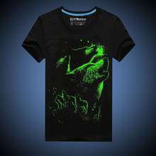 Novelty 3D Luminous T Shirt Wolf Printed T-shirt Men Cotton Black Glow In The Dark Male T Shirt 2016 Men's Casual Tee CMT154005