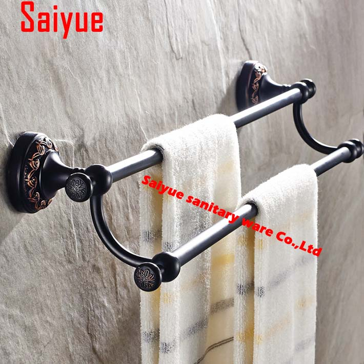 Double towel rack towel bar towel hanging copper antique black fashion bathroom antique bronze hardware accessories european luxury all copper and bronze towel ring towel hanging antique blue and white towel ring towel rack hanging round