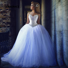Custom Made Romantic Strapless Lace-Up Tulle Crystal Beaded Wedding Dresses Princess Bridal Gowns vestido de noiva DG0043