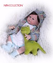 NPKCOLLECTION Silicone Reborn Baby Doll kids Playmate Gift For Girls 46cm Baby Doll Alive Soft Toys For Boy and Doll Reborn(China)