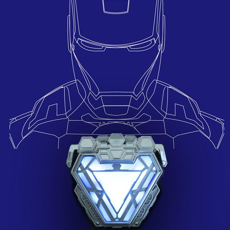 Носимый Marvel Мститель 1:1 весы Железный человек Mark 50 MK50 Armor Arc Reactor светодиодный светильник аксессуары для косплея реквизит смола подарок