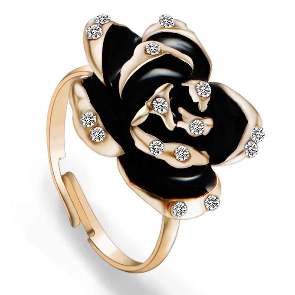 น่ารักแฟชั่นคริสตัล Rose ดอกไม้แหวนหญิงเคลือบสีดำแหวนหมั้น Vintage งานแต่งงานปรับแหวน