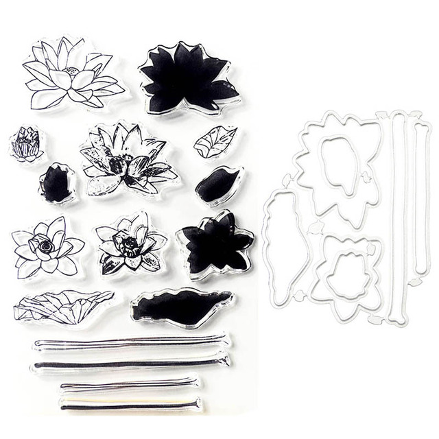 Lotus Flower Transparent Clear Stamp And Cutting Dies For Diy Photo