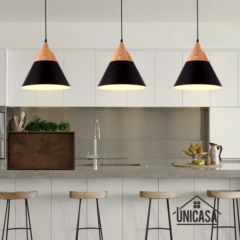 Modern Wood Pendant Lights Industrial Black Aluminum Mini