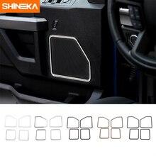 SHINEKA cubierta de altavoz de puerta para coche, cubierta a prueba de suciedad, embellecedor de marco de anillo, decoración automática para Ford F150 2015 +
