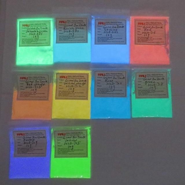 Luminous powder,photoluminescent pigment,fluorescent pigment,glow in dark pigment,1lot=10colors,10gram per color,free shipping.