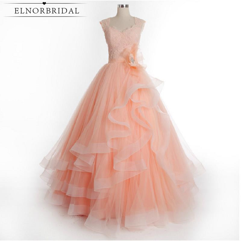 Coral Prom Dresses Long 2017 Elegant Robe De Bal Girls Pageant Gowns Imported Party Dress Tulle Cap Sleeve Evening Gowns Formal