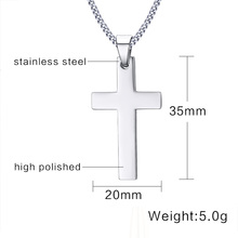Classic Men Cross Pendant Necklace 24″ Stainless Steel Link Chain Necklace