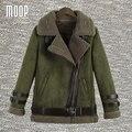 4 цветов твердые замши кожаные куртки женщины зимние пальто толстые овечьей шерсти выстроились мотоциклетная куртка весте ан cuir femme LT1047