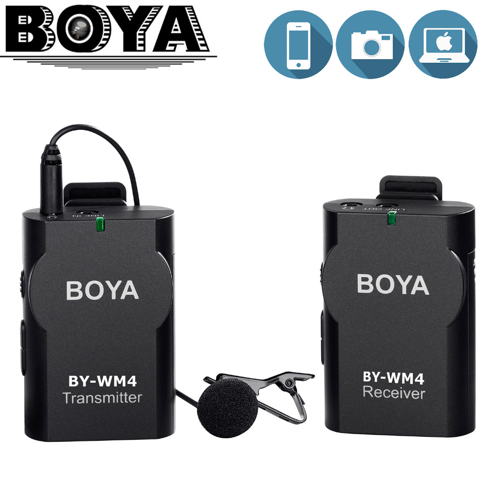 BOYA Universal Lavalier Wireless Microphone Mic for IOS Smartphone Tablet DSLR Camera Camcorder Audio Recorder PC Audio/Video boya by wm4 wireless lavalier microphone system smartphone lapel mic for iphone 8 7 android canon nikon tablet pc audio recorder