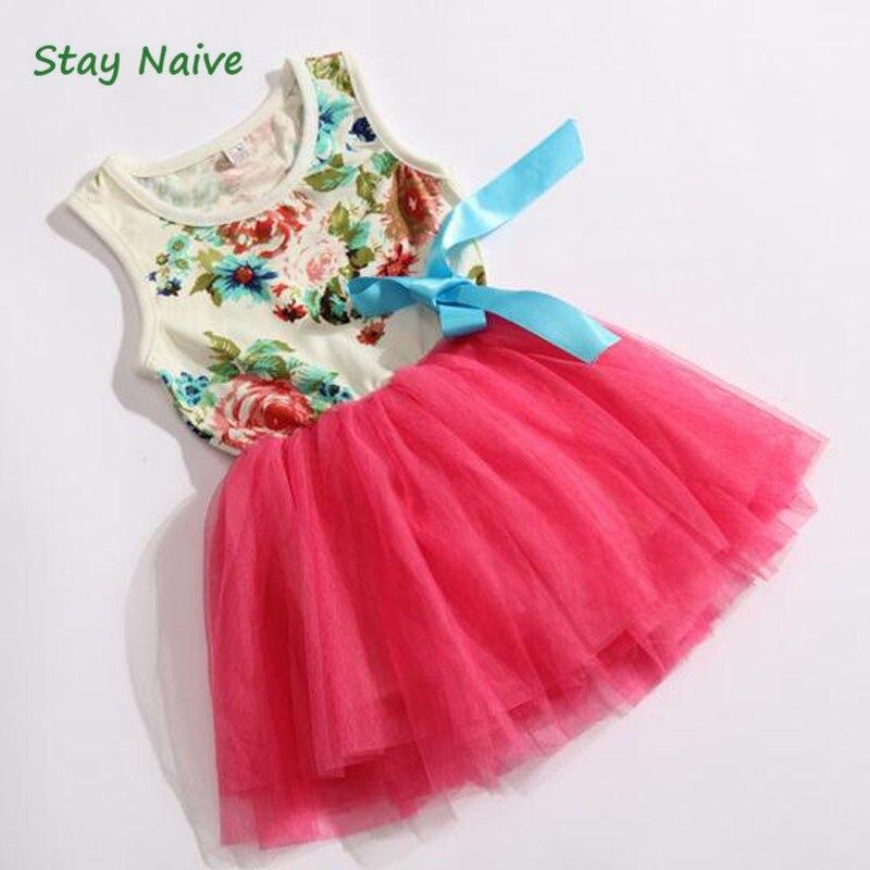 Новое платье с цветочным принтом для детей ясельного возраста пышное платье без рукавов с бантом детская одежда бесплатная доставка