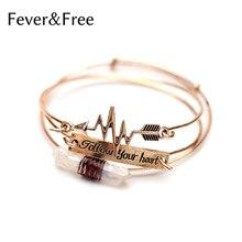 hot deal buy fever&free 2018 new 3 pcs vintage metal bangles set natural stone women love bracelet adjustable love cuff bracelets & bangles
