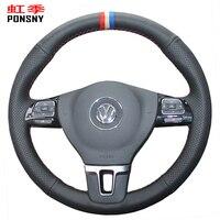 PONSNY Artificial Leather Car Steering Wheel Covers for Volkswagen VW Gol Tiguan Passat B7 Passat CC Touran Jetta Mk6