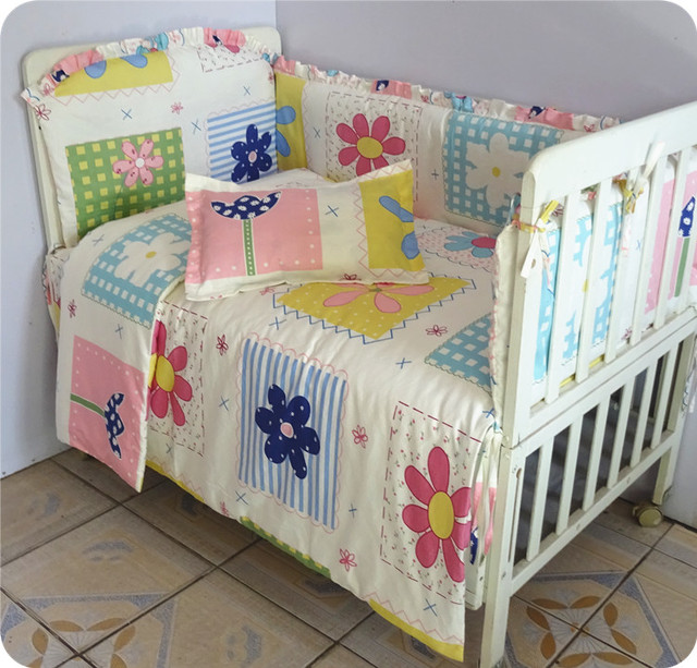 Baby Bedding Sets Newborn 100 Cotton Kit Crib 7pcs Set Cute Pattern Free