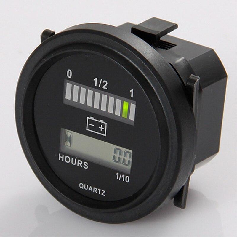 Medidor redondo da hora do lcd com indicador de bateria do diodo emissor de luz calibre 12 v 24 v 36 v 48 v 72 v para a vassoura do trator do carro do golfe