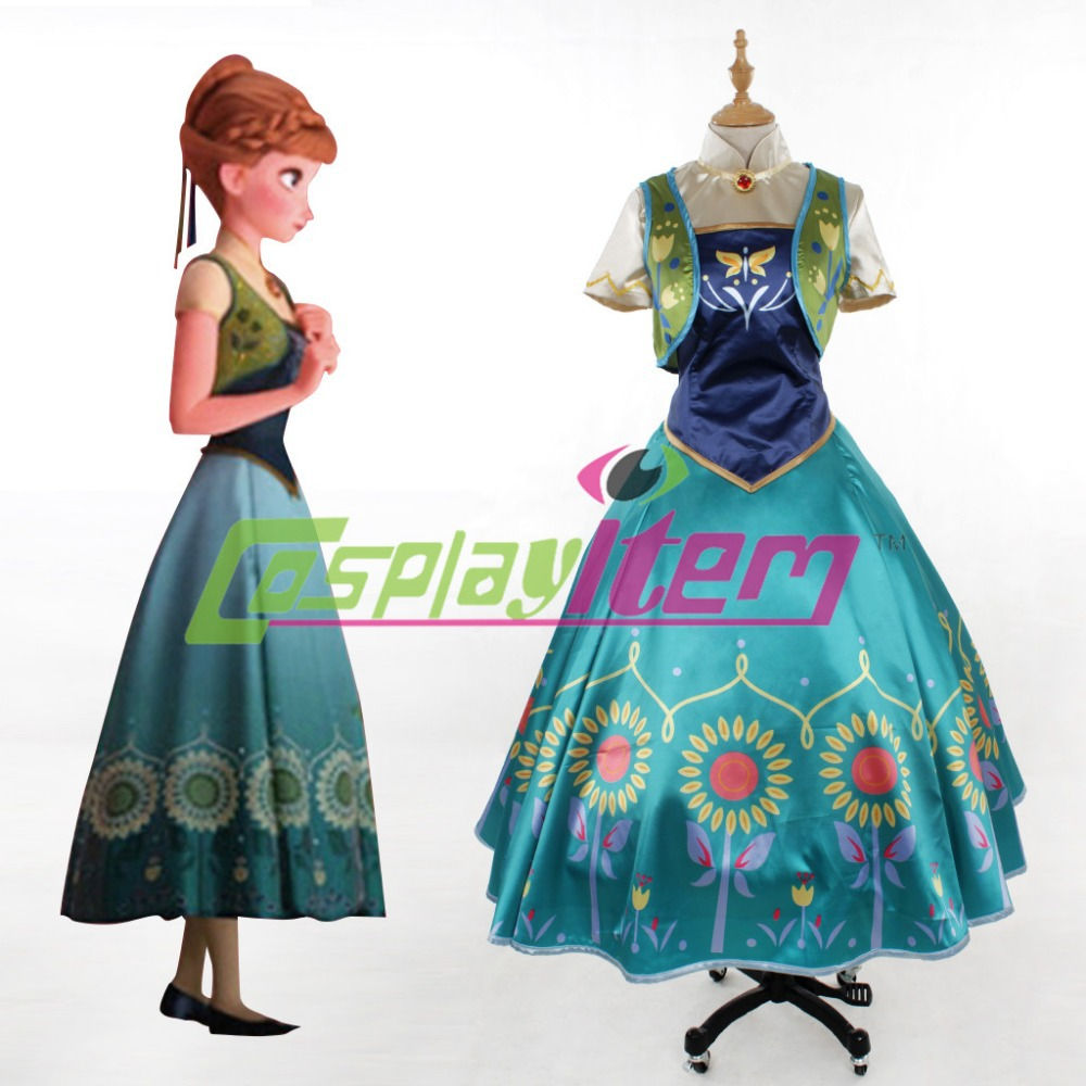 Anna dress adult costume princess movie fairy tale fancy halloween cosplay anna - Cosplayitem COS store