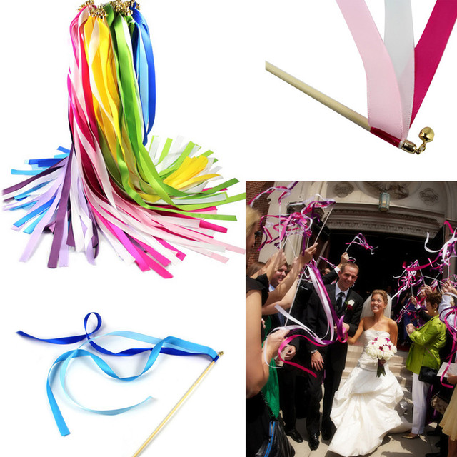 50pcs Wedding Ribbon Wands Streamers Confetti Twirling Stream Sticks With Bell Garland Decoration