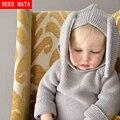 Cute Baby Boy Camisola Casual 2016 Sólidos Inverno Quente Com Capuz De Malha Camisola Roupas das Meninas Roupa Dos Miúdos Estilo Coelho Crianças