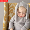 Cute Baby Boy Sweater Casual 2016 Winter Solid Hooded Warm Knitted Sweater Girls Kids Clothes Rabbit Style Children's Clothing