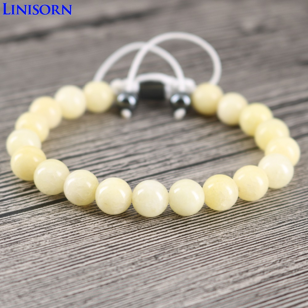 LINISORN Cream Yellow Smooth Stones 8 mm Loose Beads Hematite tag Braided Wrap Bracelets Female Classic style
