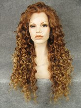 N18-30/27HR Stunning Curly ombre honey blonde  Synthetic Lace Front Wig Rupaul Wig