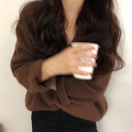 2 neck Sweater Loose V Female 4 Mohair 3 1 04qzRwax