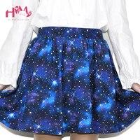 Harajuku Cosplay Starry Sky Lolita Mini Skirts Blue Stars Printing Short Skirts Young Girls