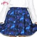 Harajuku céu estrelado saia astral emoji impressão saias tutu verão saia de algodão cor azul estrelado galaxy saia de algodão frete grátis