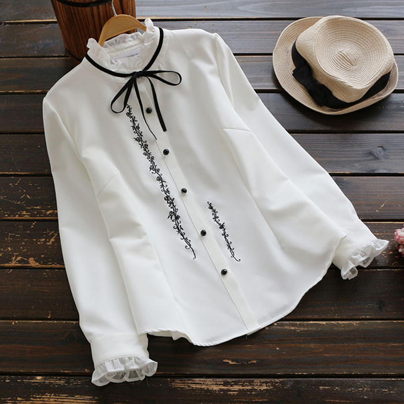 YSMILE Y Women Sweet Bow Tie Stand Collar Embroidery Shirt Loose Long Sleeve Blouse Lady Girl Daily White Chiffon Shirt YK1799