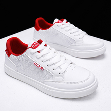 Classic Mens Shoes Casual White PU leather Men Shoes Man Sneakers 2019 Fashion Lace-up Male Flats Mocassin homme Plus Size 39-46