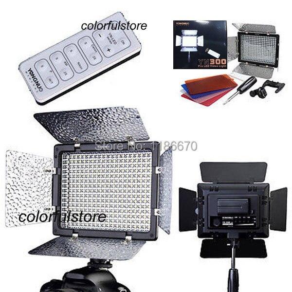 ФОТО Free Ship! Yongnuo YN300 YN-300 Pcs Barndoor Led Video Light + IR Remote Fit For Canon Nikon Pentax Olympus SLR Camera Camcorder