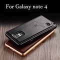 Mais novo Luxo Ultra fino De Metal De Alumínio + couro Genuíno de Volta Caso Capa para o Samsung Galaxy Note 4 N9100 Nota4