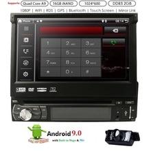 Android 9,0 Универсальный 1 Din автомобильный видеоплеер gps навигация в-тире Съемная передняя панель 1 din автомагнитола стерео с BT 2G ram
